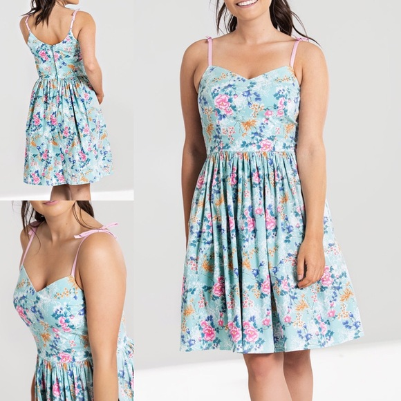 Hell Bunny Dresses & Skirts - NWT Hell Bunny Sakura Blue & Pink Floral Dress SM